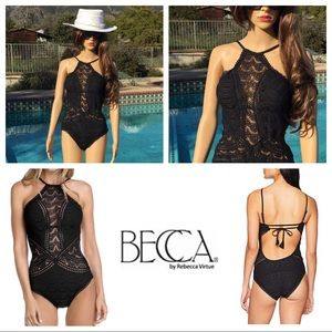 BNWT Becca one piece crochet style bathing suit